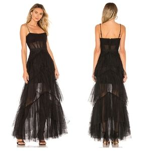 BCBGMAXAZRIA Black Corset Tulle Gown Maxi Dress